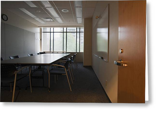 An Office Interior. Door Open To Empty Greeting Card by Marlene Ford