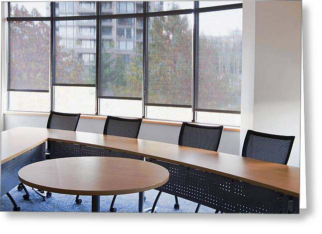 """""""meeting Room"""" Greeting Cards - An Office Meeting Or Board Room. Narrow Greeting Card by Marlene Ford"""