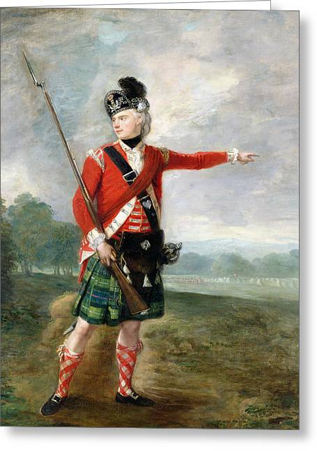 Bayonet Paintings Greeting Cards - An Officer of the Light Company of the 73rd Highlanders Greeting Card by Scottish School