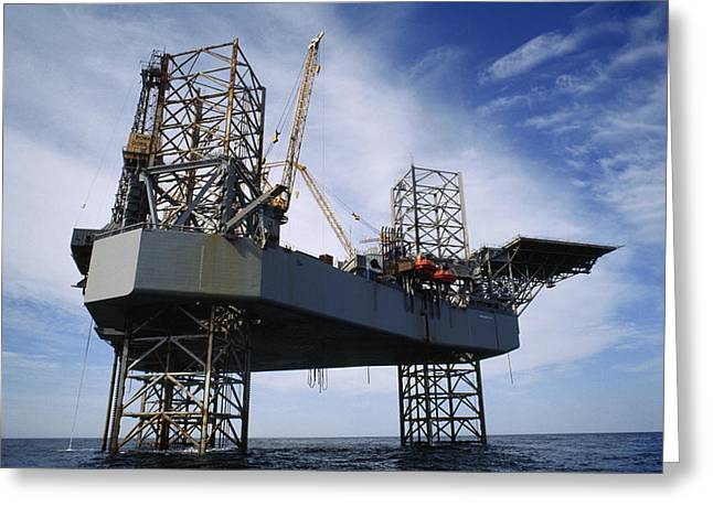 Oil Platform Greeting Cards - An Oil And Gas Drilling Platform Greeting Card by Justin Guariglia