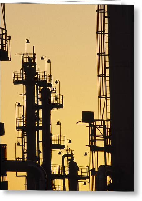 Hardware Greeting Cards - An Oil Refinery At Dusk Greeting Card by Lynn Johnson