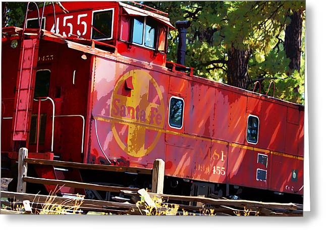 An Old Caboose Painterly Greeting Card by Phyllis Denton