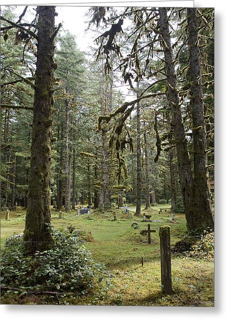Queen Charlotte Islands Greeting Cards - An Old Cemetary In A Forest Greeting Card by Taylor S. Kennedy