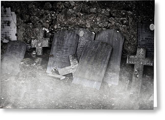 Grave Stone Greeting Cards - An Old Cemetery With Grave Stones And Fog Greeting Card by Joana Kruse