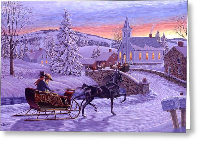 Dawn Paintings Greeting Cards - An Old Fashioned Christmas Greeting Card by Richard De Wolfe