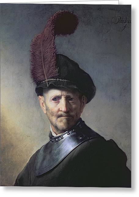 Autographed Greeting Cards - An Old Man in Military Costume Greeting Card by Rembrandt