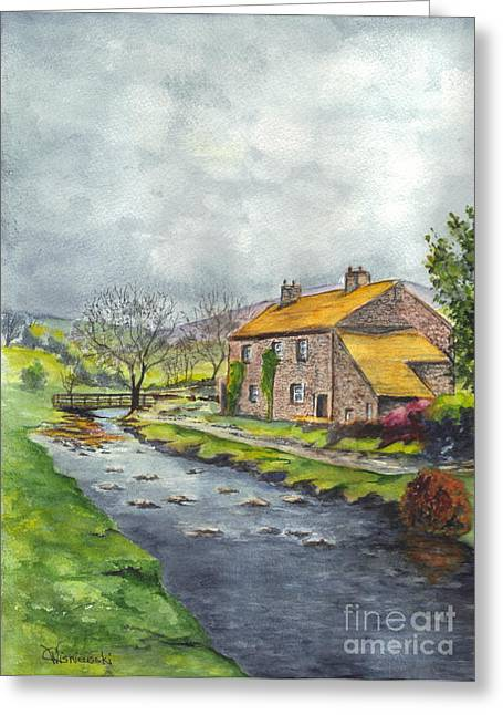 Babbling Greeting Cards - An Old Stone Cottage in Great Britain Greeting Card by Carol Wisniewski