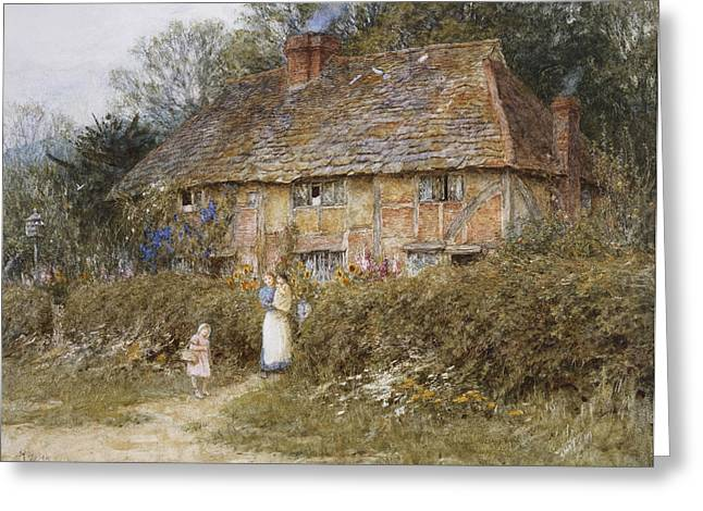 English Landscape Greeting Cards - An Old Surrey Cottage Greeting Card by Helen Allingham