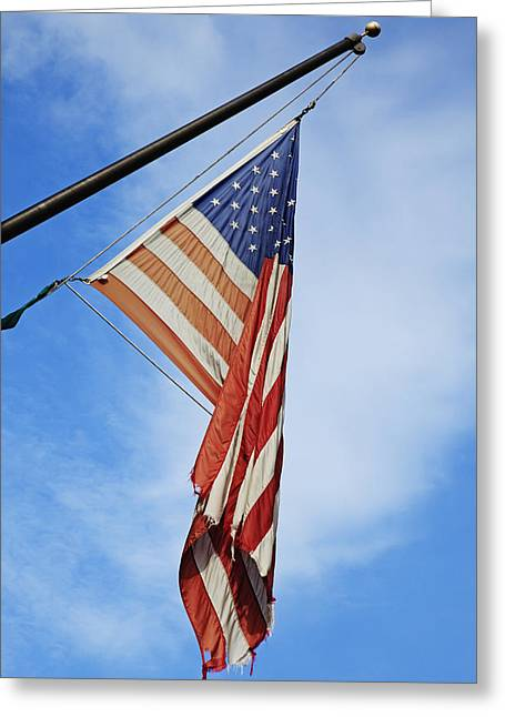 Fraying Greeting Cards - An Old Tattered Frayed Flag The Stars Greeting Card by Nathan Griffith
