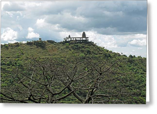 An Old Temple Building On Top Of A Hill With A Lot Of Clouds In The Sky Greeting Card by Ashish Agarwal