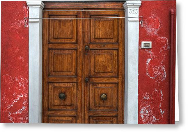 an old wooden door in Italy Greeting Card by Joana Kruse