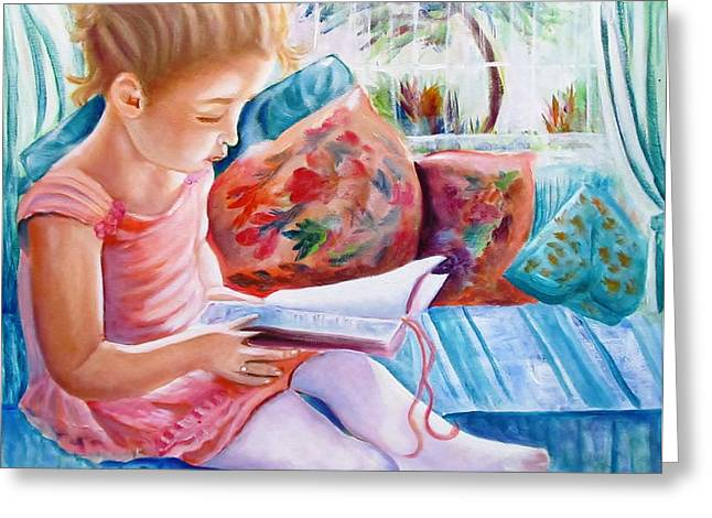 Cushions Mixed Media Greeting Cards - An Open Book Greeting Card by Carol Allen Anfinsen