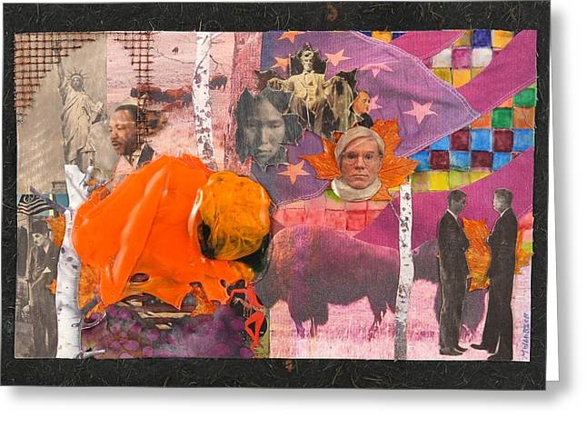 Fused Mixed Media Greeting Cards - An Orange Bison In America Greeting Card by Mark Lubich