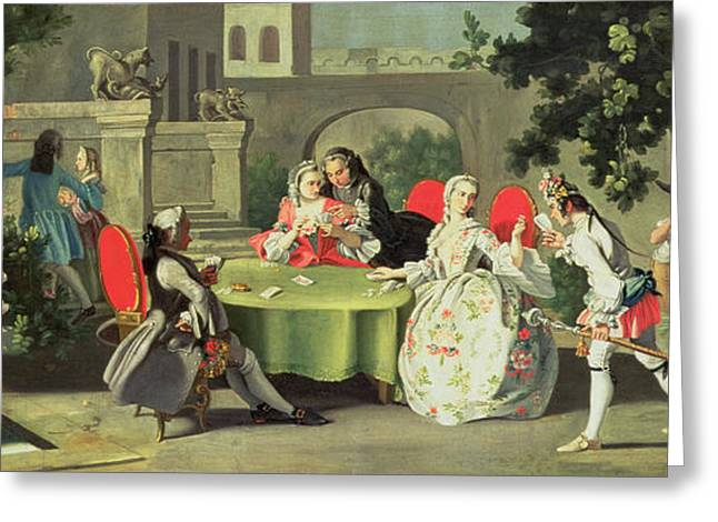 An Ornamental Garden with Elegant Figures Seated Around a Card Table Greeting Card by Filippo Falciatore