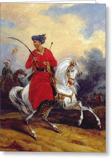 Saracen Greeting Cards - An Ottoman on Horseback Greeting Card by Charles Bellier
