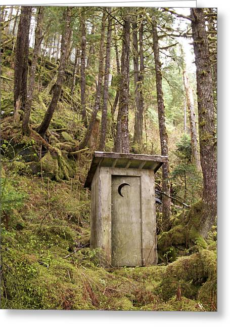 British Columbia Greeting Cards - An Outhouse In A Moss Covered Forest Greeting Card by Michael Melford