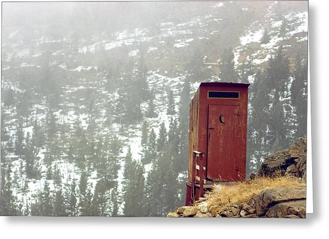 An Outhouse Perches On A Hillside Greeting Card by Rex A. Stucky