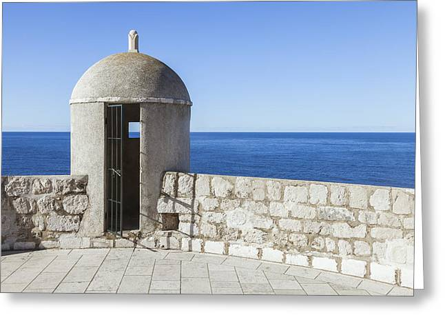 An Outpost Overlooking The Adriatic Sea Greeting Card by Greg Stechishin