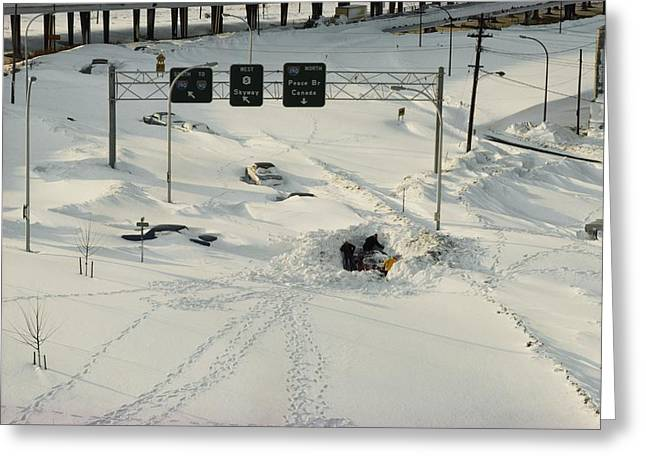 Cars In Winter Greeting Cards - An Overhead View Of Buried Cars On An Greeting Card by Ira Block