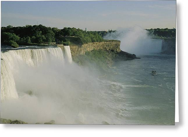 Middle Atlantic States Greeting Cards - An Overview Of American Falls Greeting Card by James P. Blair