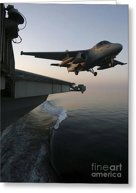 Stocktrek Images - Greeting Cards - An S-3b Viking Clears The Flight Deck Greeting Card by Stocktrek Images