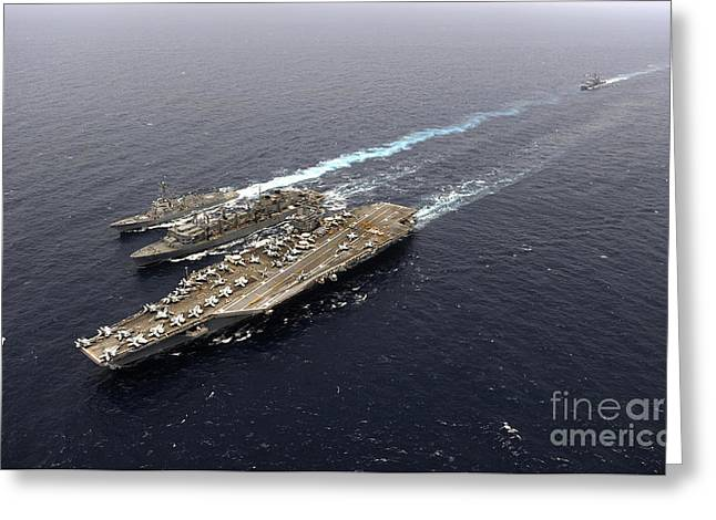 Underway Greeting Cards - An Underway Replenishment With Ships Greeting Card by Stocktrek Images