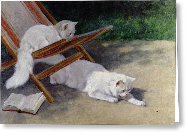 Deckchair Greeting Cards - An Uninvited Guest Greeting Card by Arthur Heyer