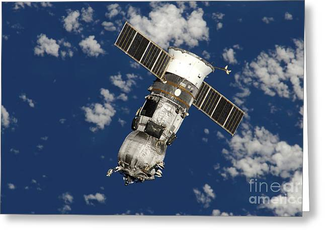 Automated Transfer Vehicles Greeting Cards - An Unpiloted Progress 17 Supply Vehicle Greeting Card by Stocktrek Images