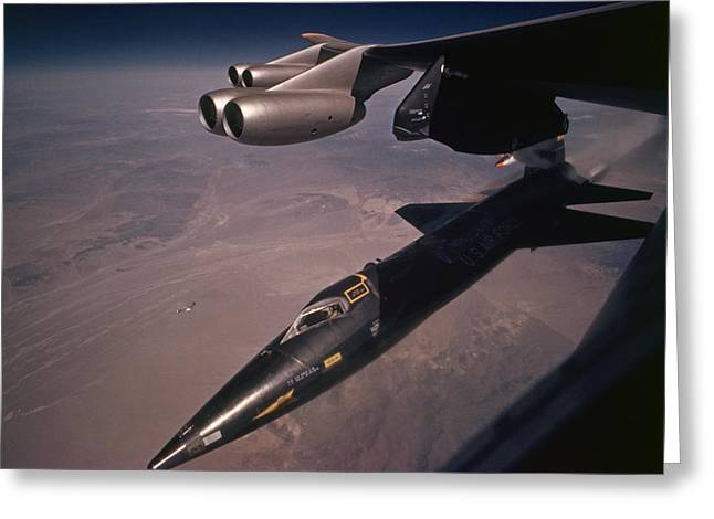 X-15 Greeting Cards - An X-15 Rocket Plane Drops Free Greeting Card by Dean Conger