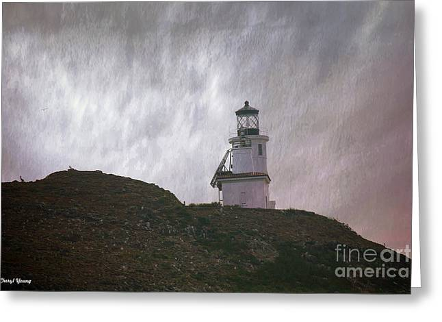 Ventura California Greeting Cards - Anacapa Island Lighthouse Greeting Card by Cheryl Young