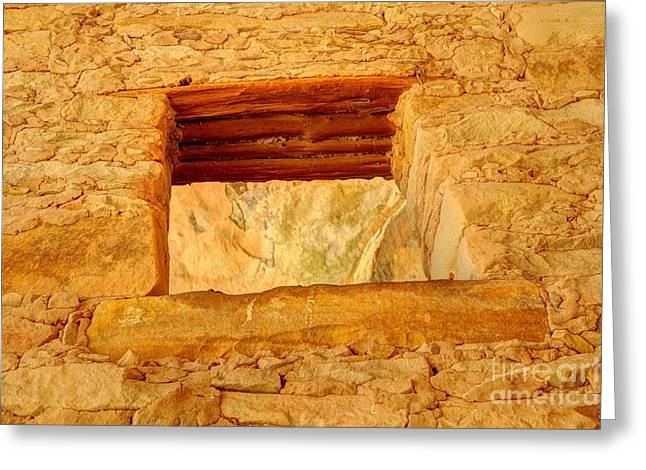 Indian Dwelling Greeting Cards - Anasazi Window - Tower Ruins - Comb Ridge Greeting Card by Gary Whitton