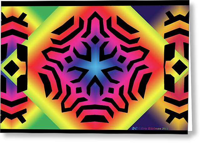 Geometric Abstraction Mixed Media Greeting Cards - Ancestral Star Greeting Card by Eric Edelman