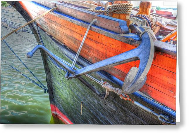 Village By The Sea Greeting Cards - Anchor Setting Greeting Card by Barry R Jones Jr