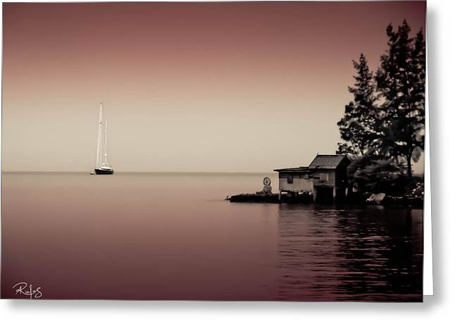 Anchored Near A Temple - Tint On Red Greeting Card by Allan Rufus
