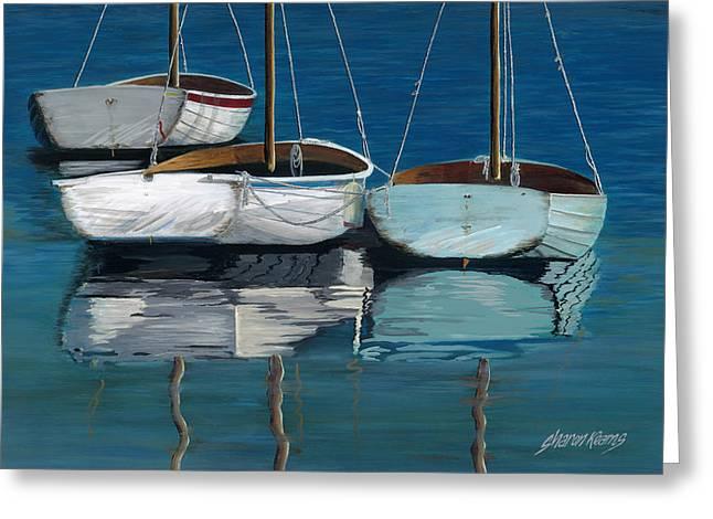 Sailboat Greeting Cards - Anchored Reflections I Greeting Card by Sharon Kearns