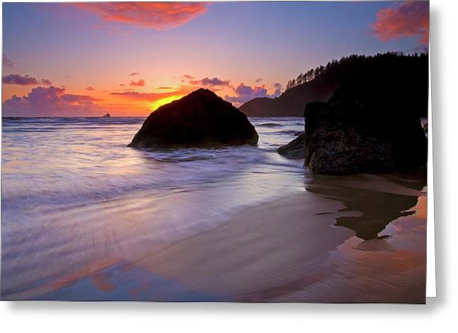 Lighthouse Sunset Greeting Cards - Anchoring the Beach Greeting Card by Mike  Dawson