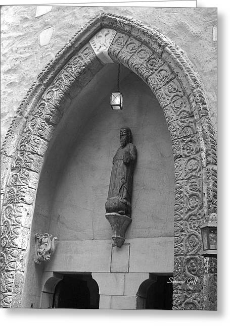Antique Sculpture Greeting Cards - Ancient Archway in Black and White Greeting Card by Suzanne Gaff