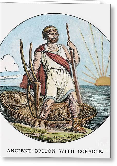 Ancient Briton And Coracle Greeting Card by Granger