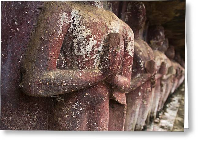 Temple Reliefs Greeting Cards - Ancient Buddha image Greeting Card by Amornthep Chotchuang