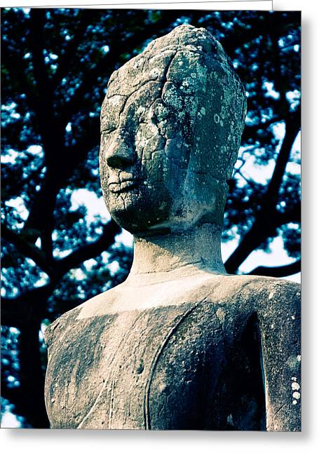 Brown Head Sculpture Greeting Cards - Ancient Buddha Thailand  Greeting Card by Ulrich Schade