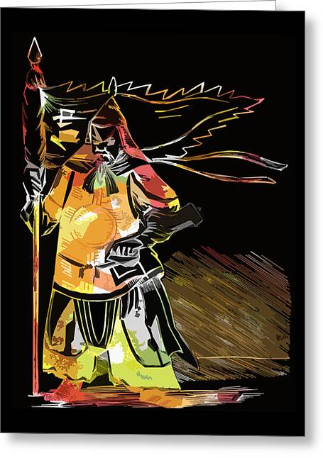 James Hill Greeting Cards - ancient Chinese warrior Greeting Card by James Hill