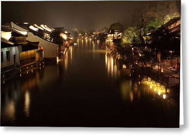 Scenic Photography Greeting Cards - Ancient Chinese Water Town Greeting Card by Andrew Soundarajan