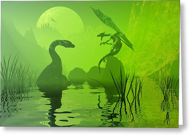 Seadragon Greeting Cards - Ancient confrontation Greeting Card by Claude McCoy