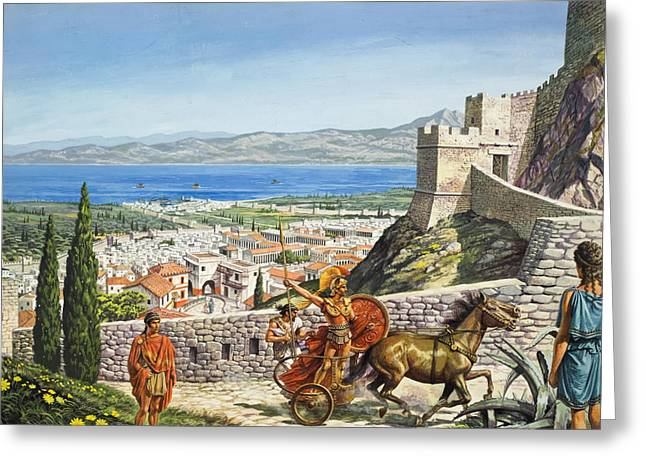 Trojan Greeting Cards - Ancient Corinth Greeting Card by Roger Payne