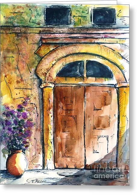 Ancient Door Of Greece Greeting Card by Therese Alcorn