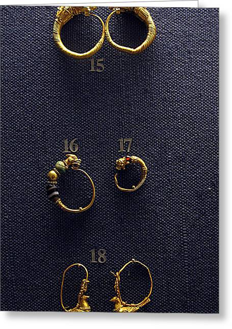 Ancient Earrings Greeting Cards - Hellenistic Earrings Greeting Card by Andonis Katanos