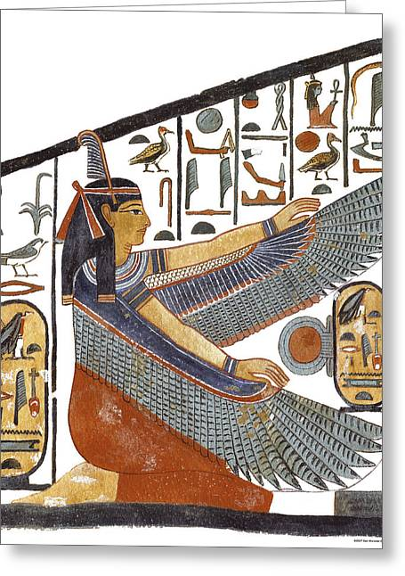 Egyptian Goddess Greeting Cards - Ancient Egyptian Goddess Maat Greeting Card by Ben  Morales-Correa