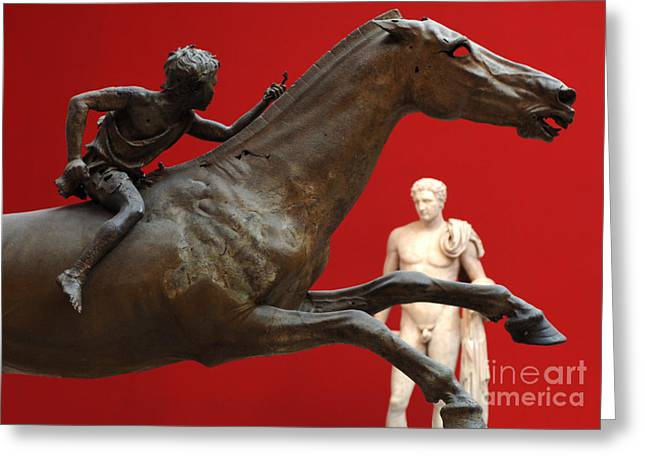 Museum Athens Greeting Cards - Ancient Greek Sculptures Greeting Card by Bob Christopher