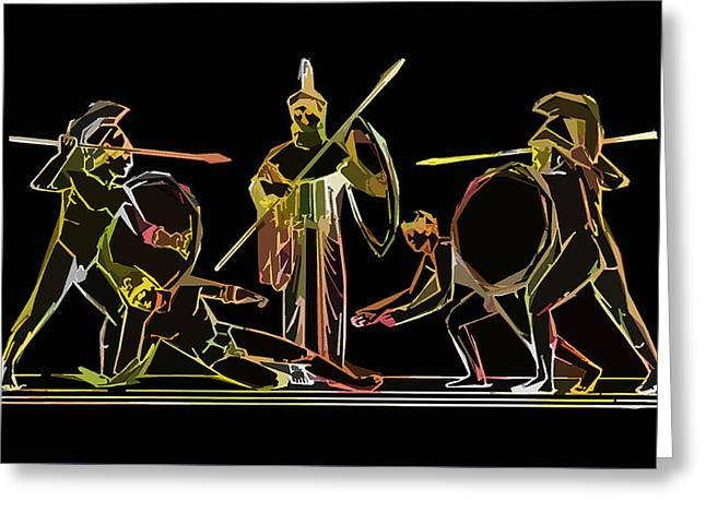 James Hill Greeting Cards - Ancient Greek Soldiers Greeting Card by James Hill