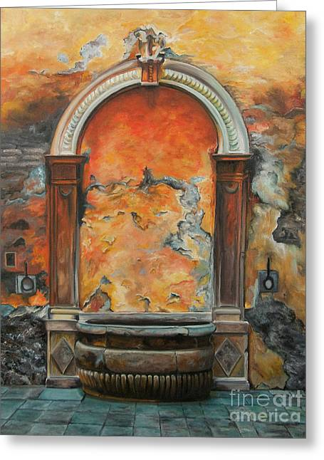 Italian Seascape Greeting Cards - Ancient Italian Fountain Greeting Card by Charlotte Blanchard